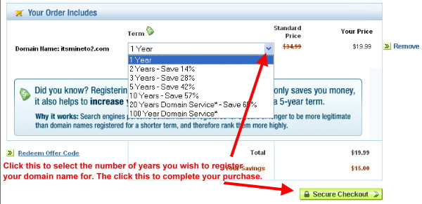 Select the number of years to register a domain name